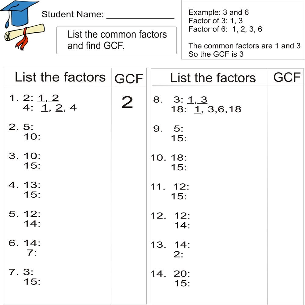 Greatest Common Factor 1To 20 (From Study Village Website. . .great | Gcf And Lcm Worksheets Printable