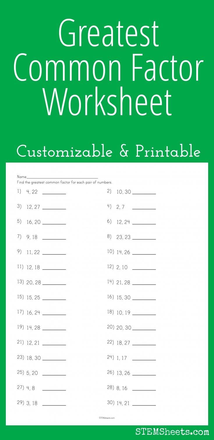 Greatest Common Factor Worksheet - Customizable And Printable | Math | Gcf And Lcm Worksheets Printable