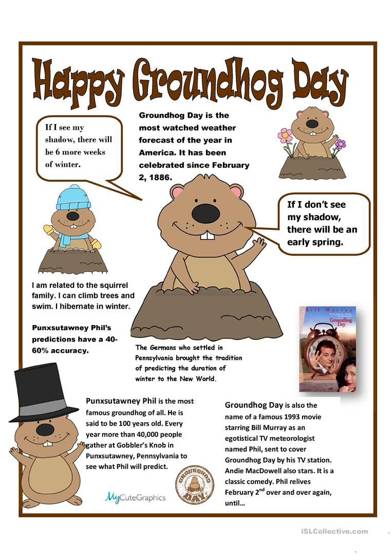 Groundhog Day Poster Worksheet - Free Esl Printable Worksheets Made | Free Printable Worksheets For Groundhog Day