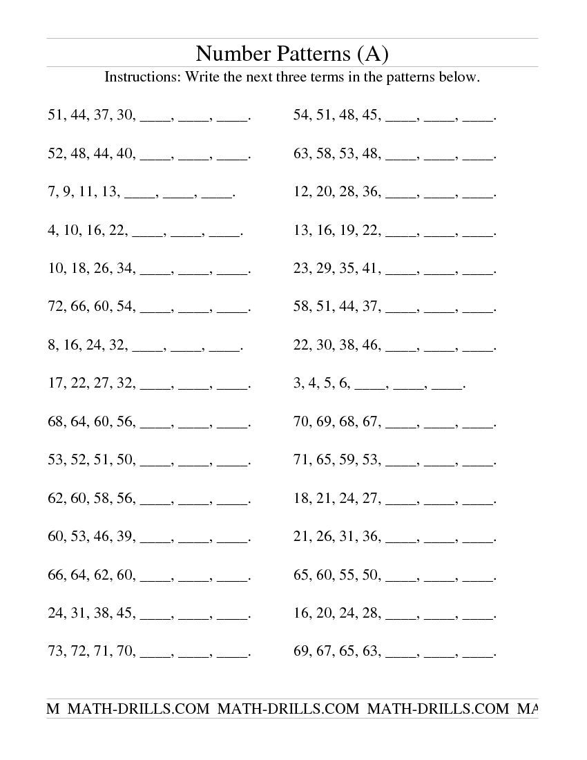 Growing And Shrinking Number Patterns (A) Patterning Worksheet | Printable Number Pattern Worksheets