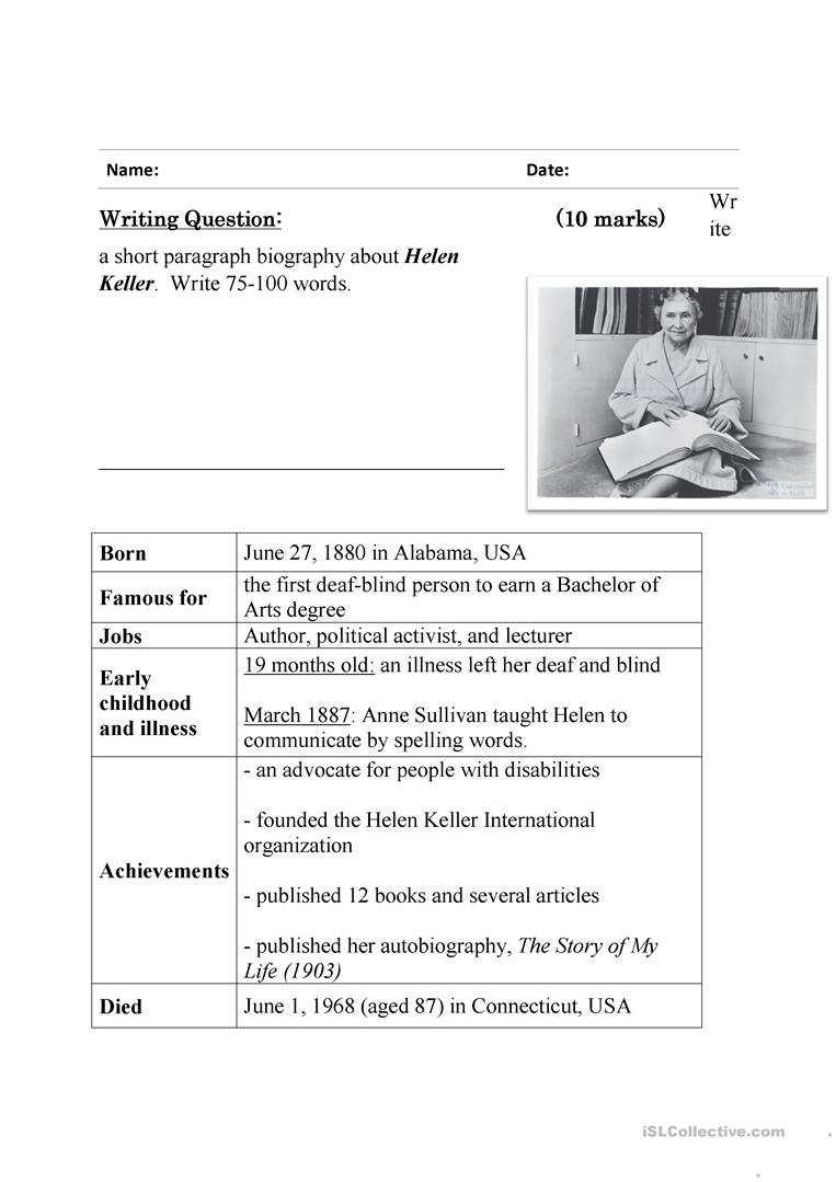 Guided Writing - Writing A Biography ( Helen Keller) Worksheet | Printable Biography Worksheets