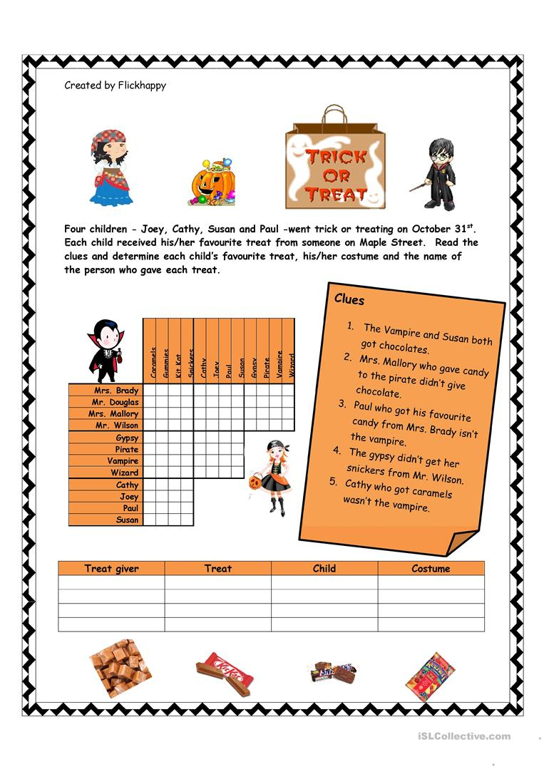 Halloween Logic Puzzle Worksheet - Free Esl Printable Worksheets | Logic Puzzles Printable Worksheets