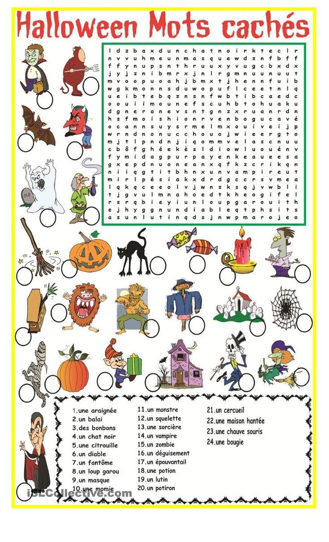 Halloween Mots Cachés | Fle | Halloween Worksheets, French | Free Printable French Halloween Worksheets