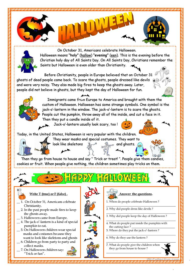 Halloween - Reading Worksheet - Free Esl Printable Worksheets Made | Printable Worksheets Esl Students