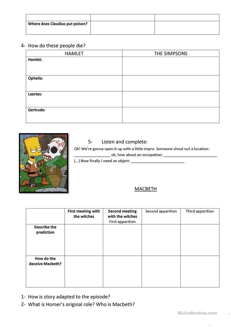 Hamlet And Macbeth Worksheet - Free Esl Printable Worksheets Made | Hamlet Printable Worksheets