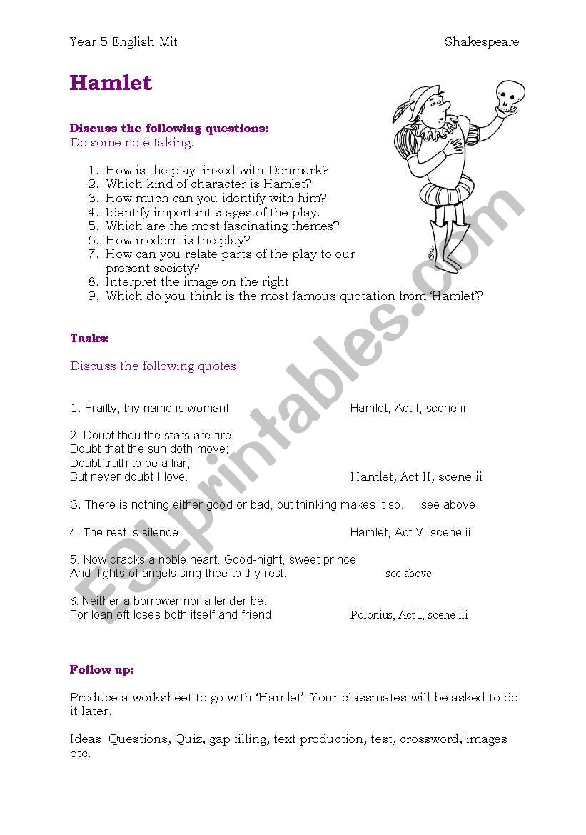 Hamlet - Esl Worksheetchristl Tirol | Hamlet Printable Worksheets