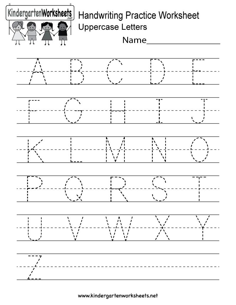 Handwriting Practice Worksheet - Free Kindergarten English Worksheet   Alphabet Practice Worksheets Printable