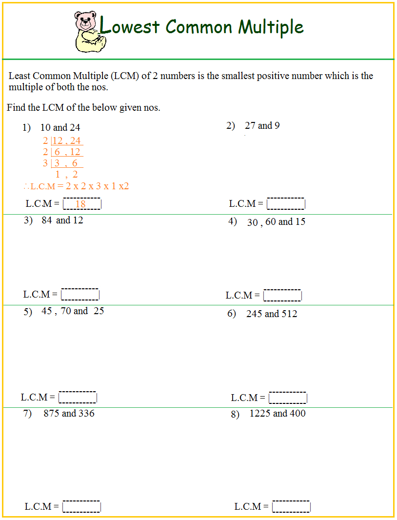 Hcf And Lcm Worksheet Year 6 | Free Printables Worksheet - Free | Free Printable Lcm Worksheets