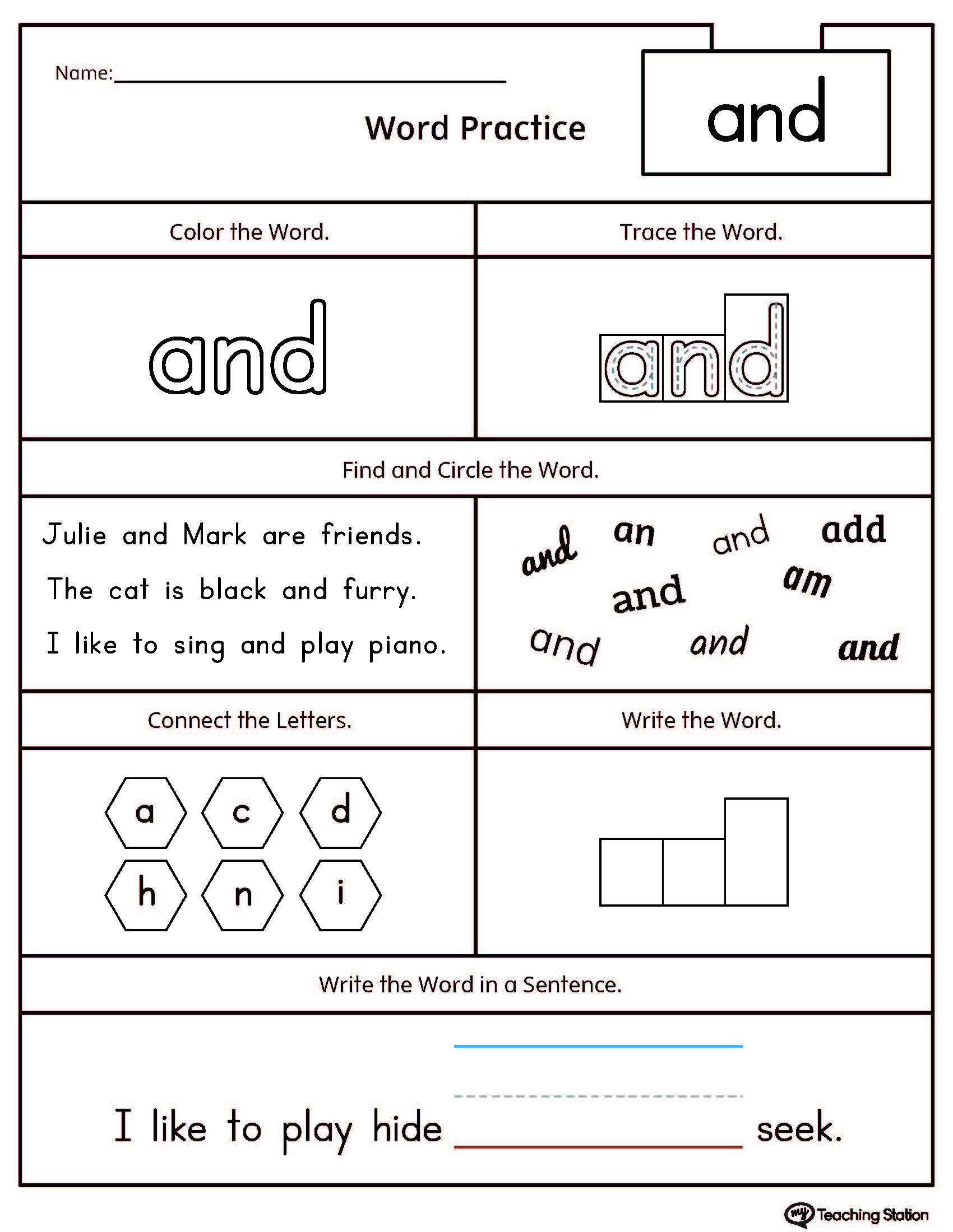 Sight Word The Printable Worksheet | Myteachingstation ...