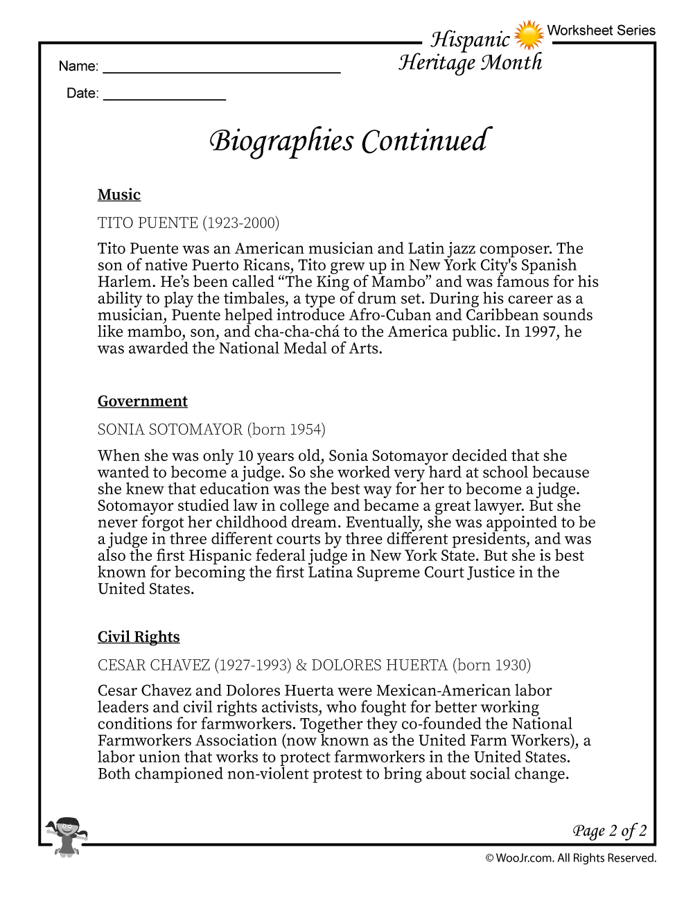 Hispanic Heritage Month Biographies Part 2 | Woo! Jr. Kids Activities | Hispanic Heritage Month Printable Worksheets