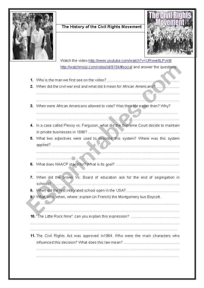 History Of Civil Rights Movement - Esl Worksheetobindidon | Civil Rights Movement Worksheets Printable