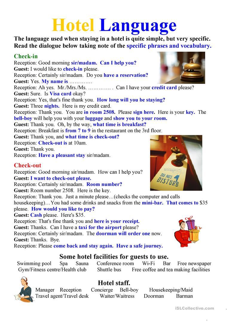 Hotel Language Worksheet - Free Esl Printable Worksheets Made | Hospitality Worksheets Printable