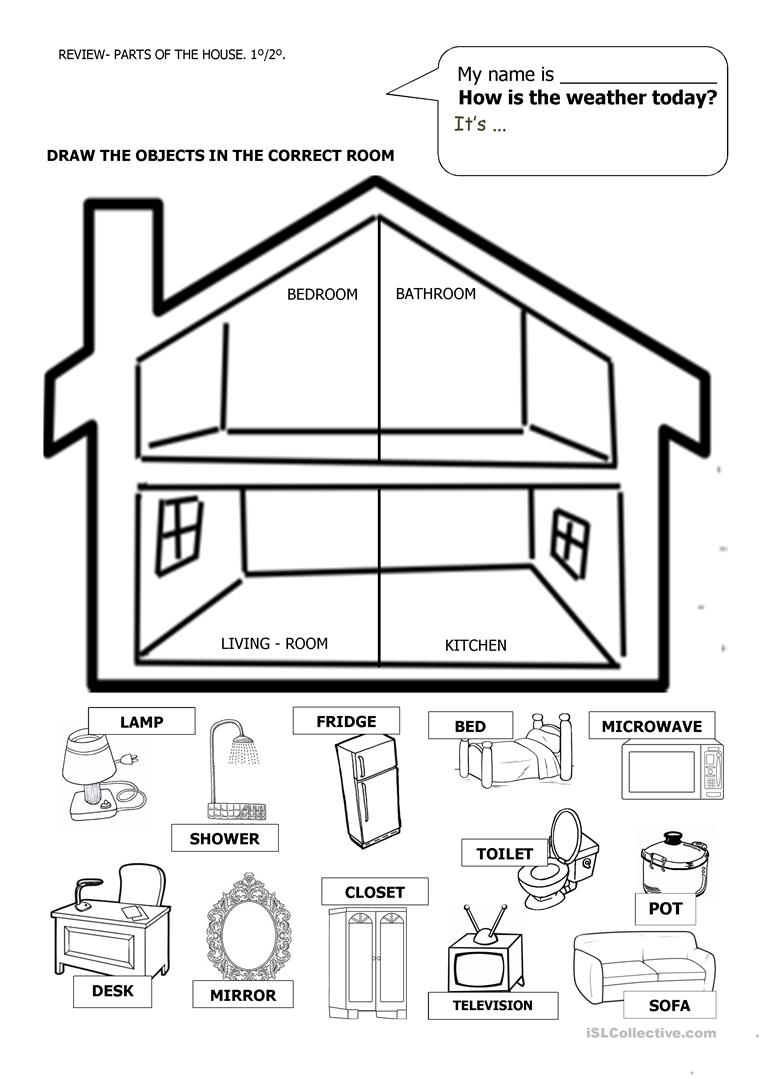 House And Furniture Worksheet - Free Esl Printable Worksheets Made   Home Worksheets Printables