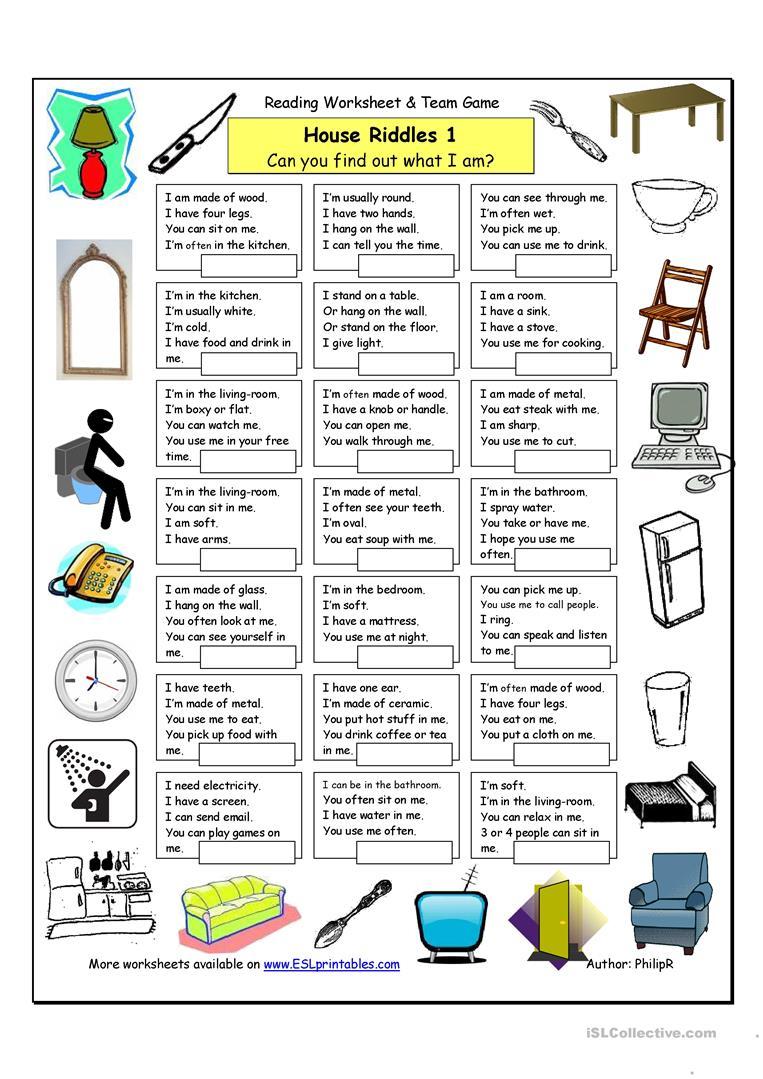 House Riddles (1) - Easy Worksheet - Free Esl Printable Worksheets | Riddles Worksheets Printable