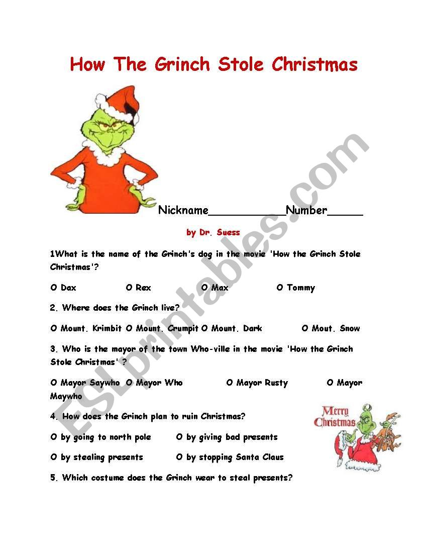 How The Grinch Stole Christma - Esl Worksheetajarnglyn | Free Printable Grinch Worksheets