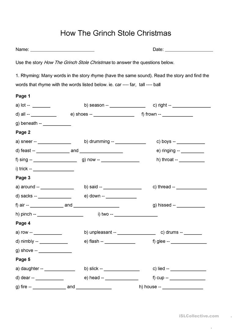 How The Grinch Stole Christmas - Rhyming And Comprehension Worksheet   Free Printable Grinch Worksheets