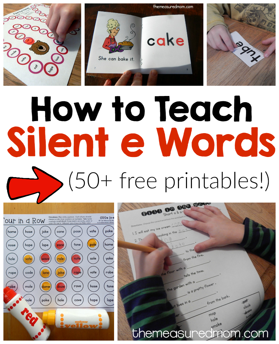 How To Teach Magic E Words - The Measured Mom | Silent E Printable Worksheets