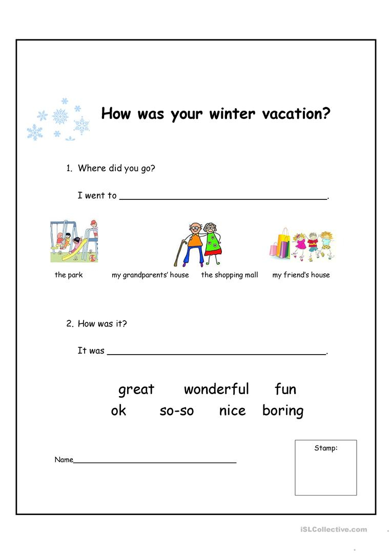 How Was Your Winter Vacation? Worksheet - Free Esl Printable | Winter Holidays Worksheets Printables