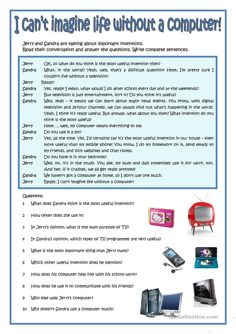 I Can't Imagine My Life Without A Computer! Worksheet - Free Esl | Computer Worksheets Printables