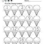 Ice Cream Missing Numbers 1 20 Worksheet For Kindergarten (Free | Counting Worksheets 1 20 Printable