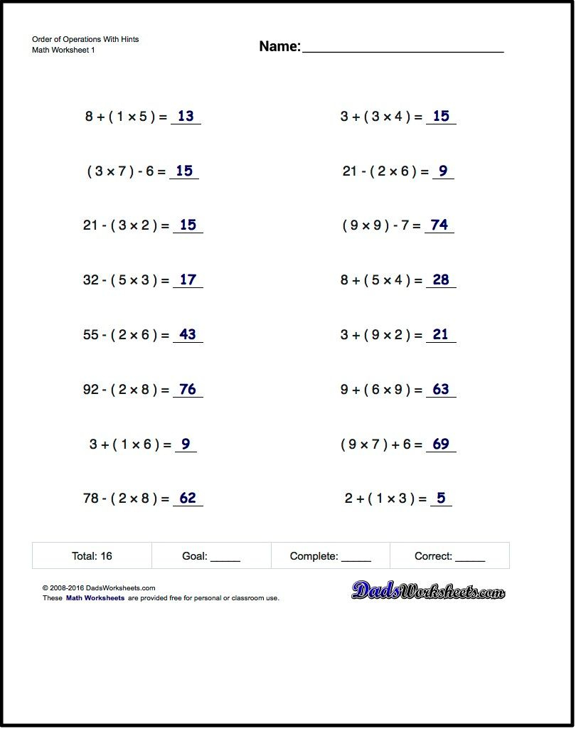 If You Are Looking For Order Of Operations Worksheets That Test Your | Printable Pemdas Worksheets