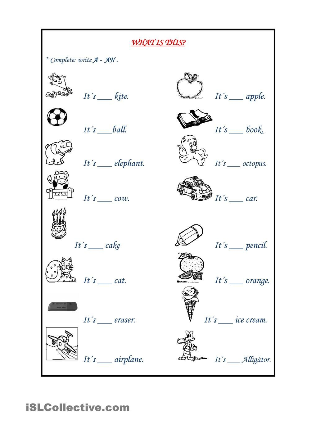 Indefinite Articles | Tefl | Grammar Worksheets, 1St Grade | A An Worksheets Printable