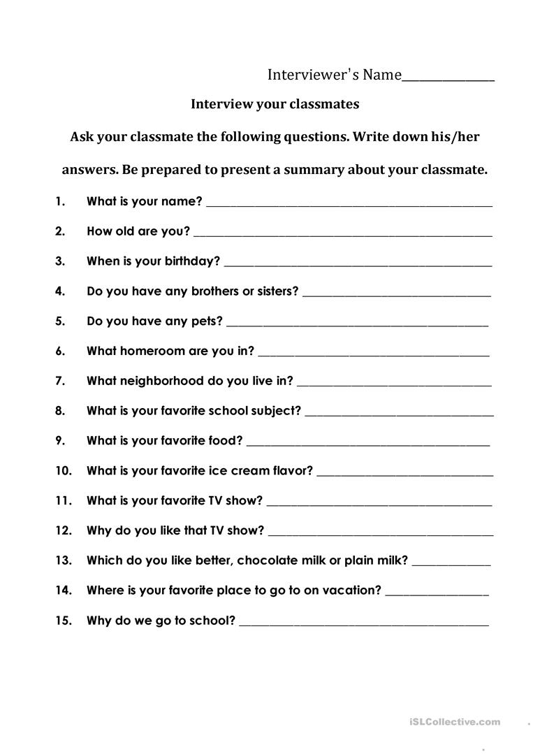 Interviewing Your Classmates Worksheet - Free Esl Printable - Free | Free Printable Worksheets For Highschool Students
