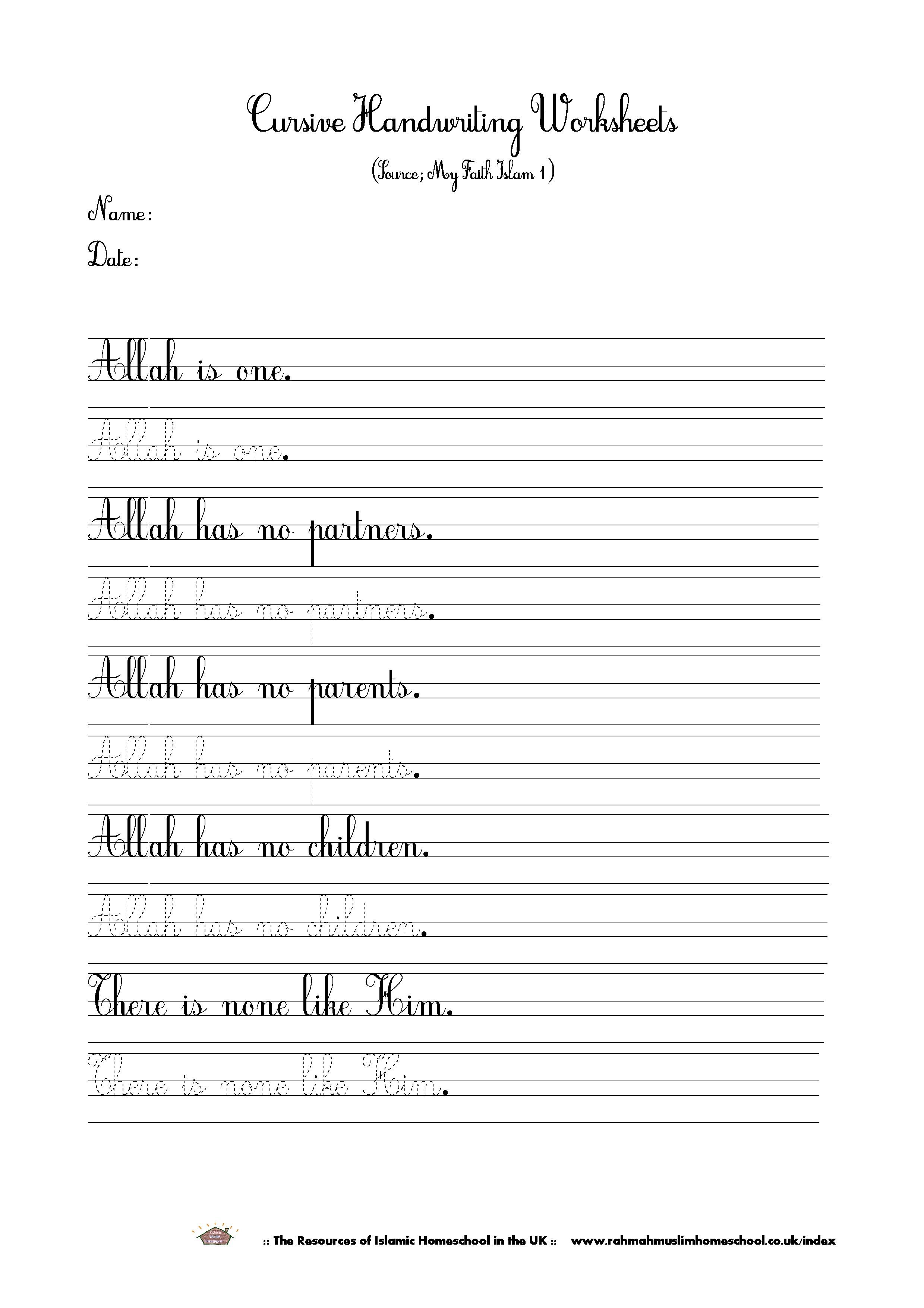Islamic Cursive Handwriting Worksheet About Tawheed/tauhid | The | Cursive Handwriting Worksheets Ks1 Printable