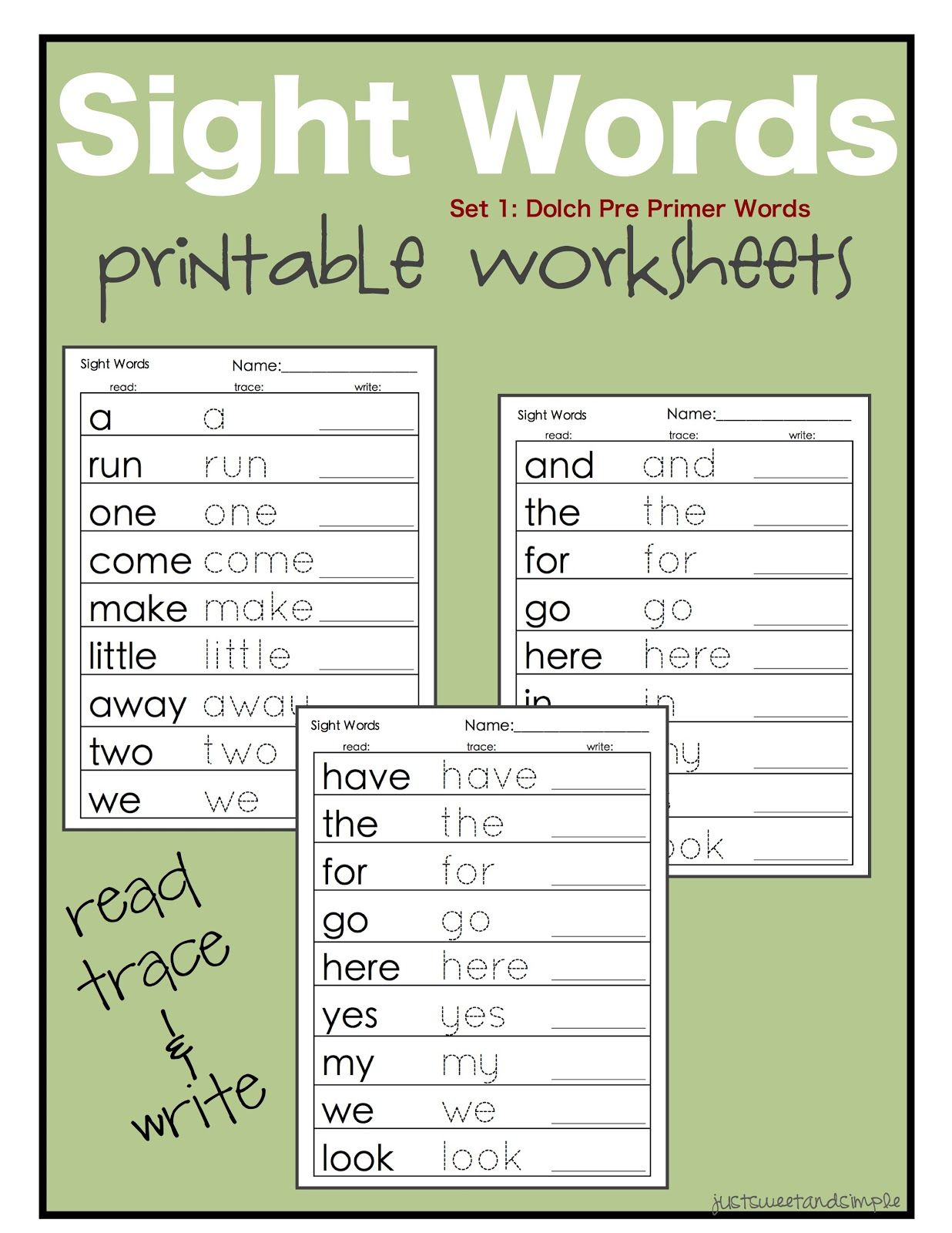 Just Sweet And Simple: Preschool Practice: Printable Dolch Site Word | Free Printable Dolch Sight Words Worksheets