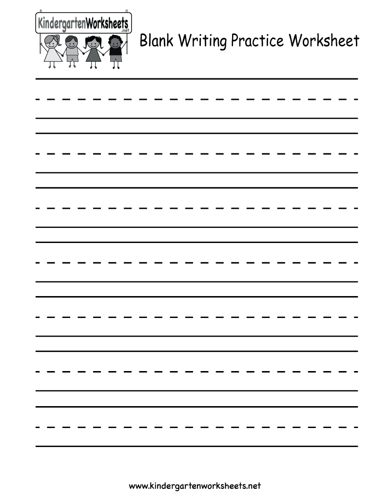 Kindergarten Blank Writing Practice Worksheet Printable | Writing | Printable Blank Handwriting Worksheets