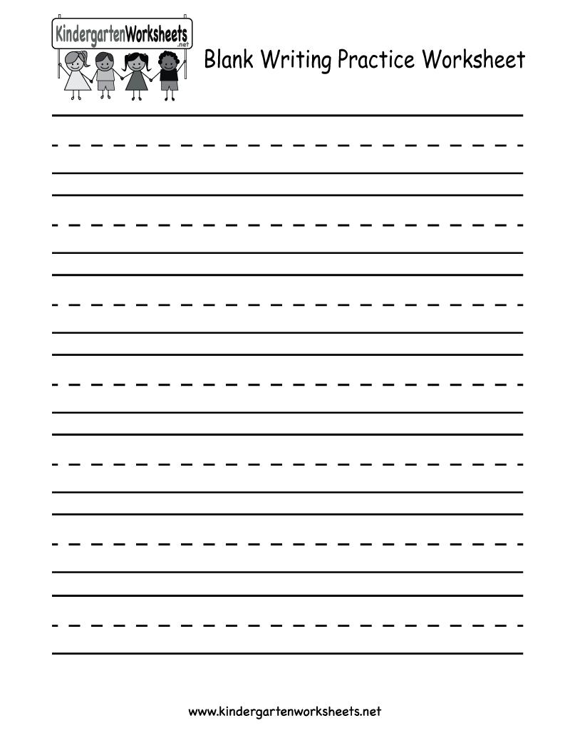 Kindergarten Blank Writing Practice Worksheet Printable | Writing | Printable Handwriting Worksheets For Kindergarten
