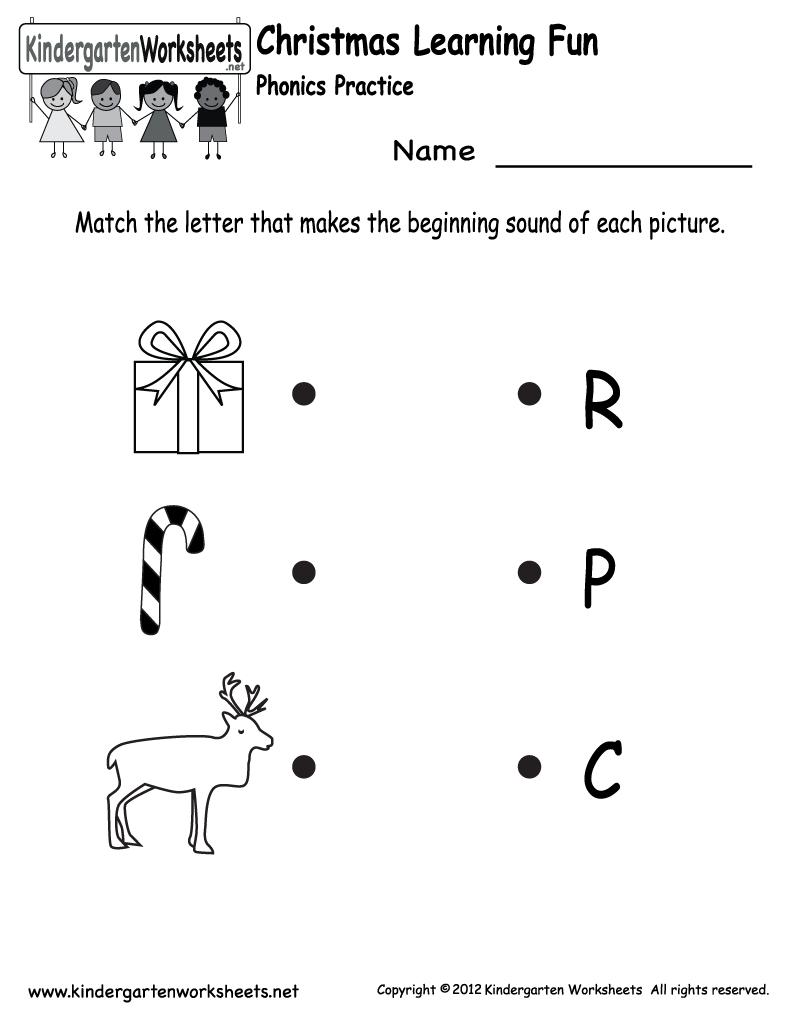 Kindergarten Christmas Phonics Worksheet Printable | Jax School | Free Printable Christmas Kindergarten Worksheets