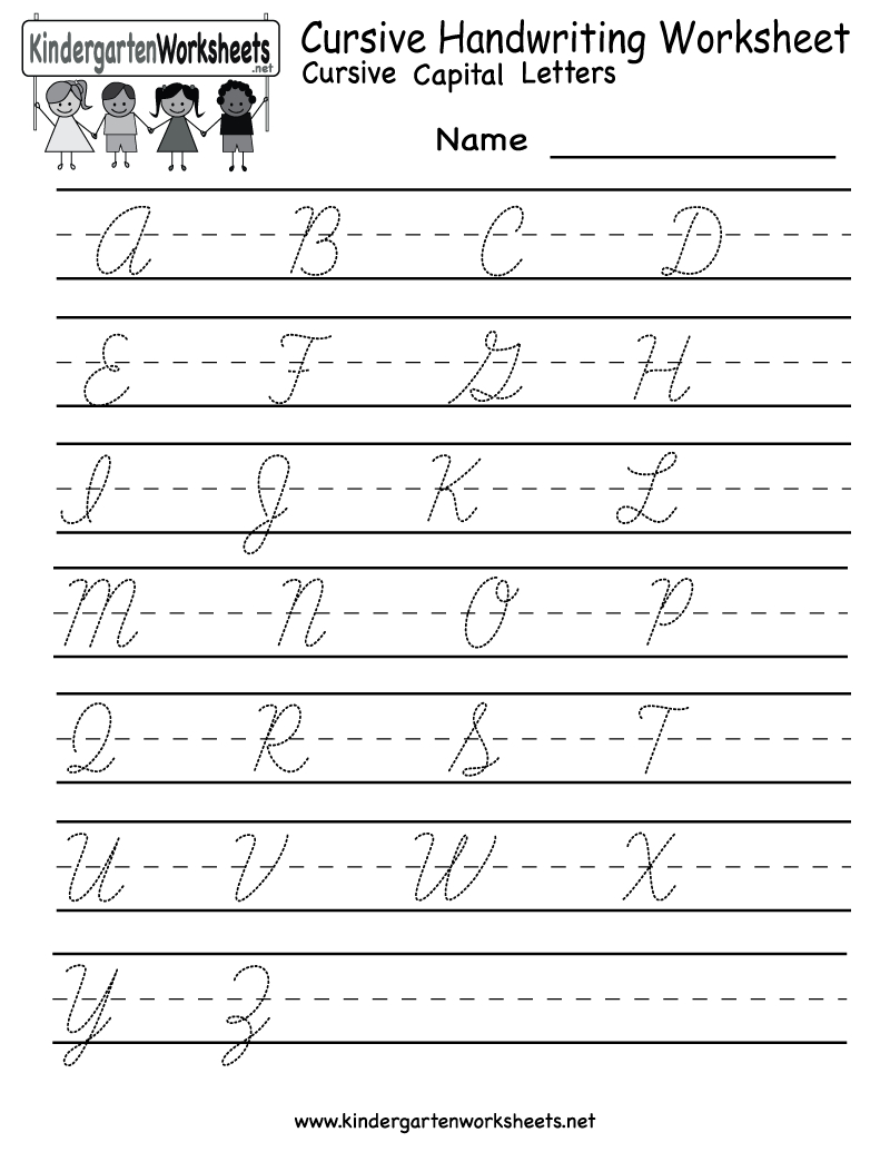 Kindergarten Cursive Handwriting Worksheet Printable | School And | Printable Penmanship Worksheets