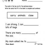 Kindergarten English Comprehension Worksheet Printable | Worksheets | Kindergarten Ela Printable Worksheets