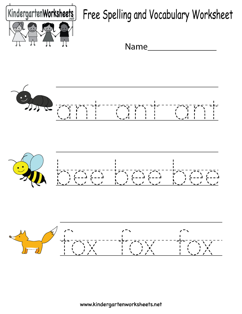 Kindergarten Free Spelling And Vocabulary Worksheet Printable | Kids | Spelling Worksheets For Kindergarten Printable