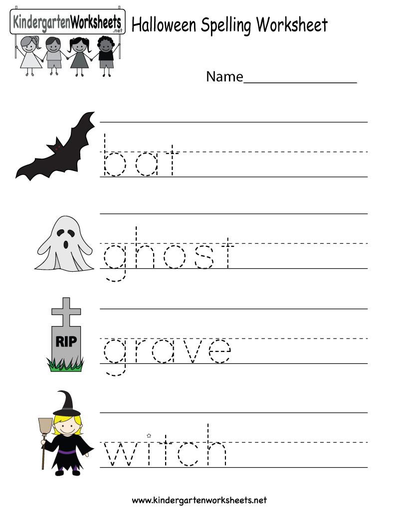 Kindergarten Halloween Spelling Worksheet Printable | Free Halloween | Free Printable Halloween Worksheets
