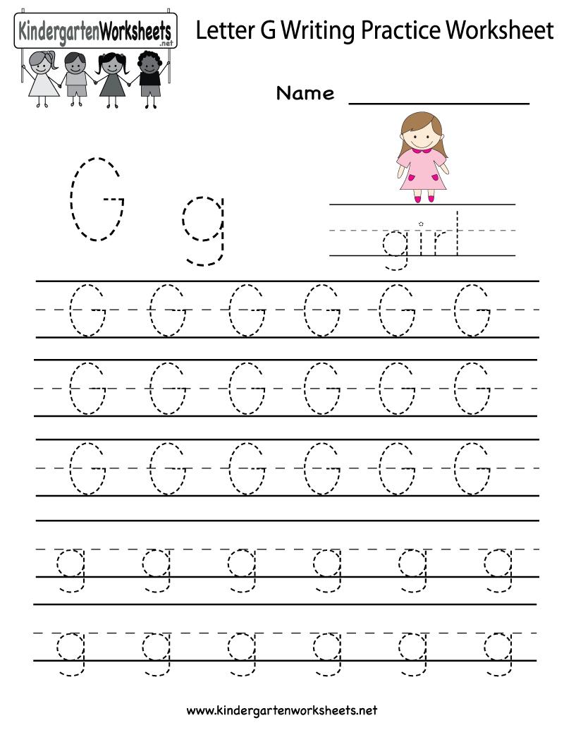 Kindergarten Letter G Writing Practice Worksheet Printable | Kindergarten Worksheets Printable Writing