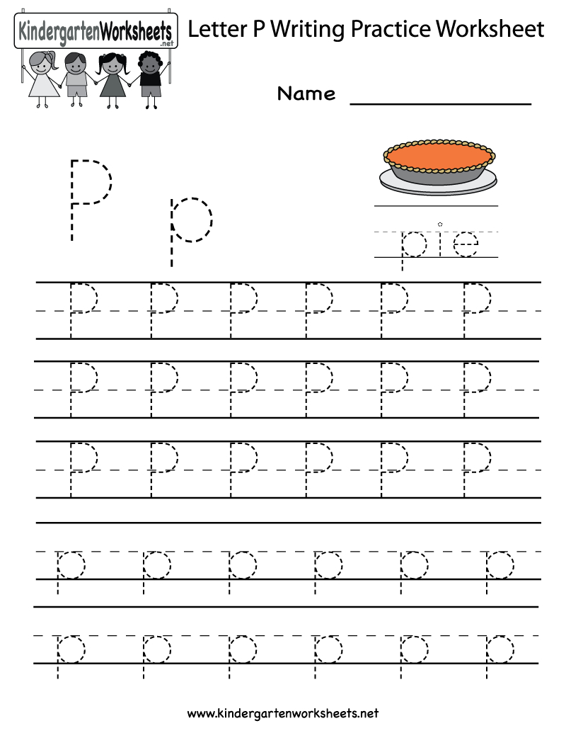 Kindergarten Letter P Writing Practice Worksheet Printable | Free Printable Letter P Worksheets
