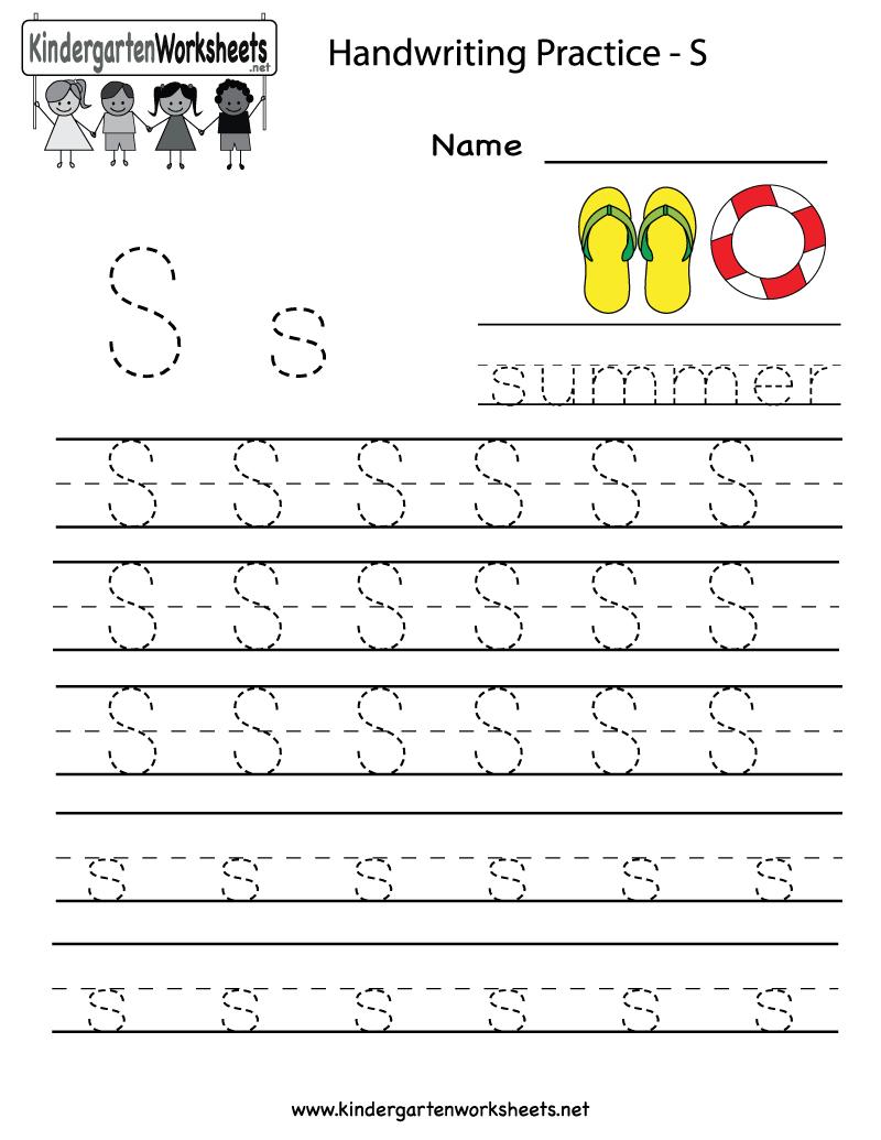 Kindergarten Letter S Writing Practice Worksheet Printable | G | Kindergarten Worksheets Printable Writing