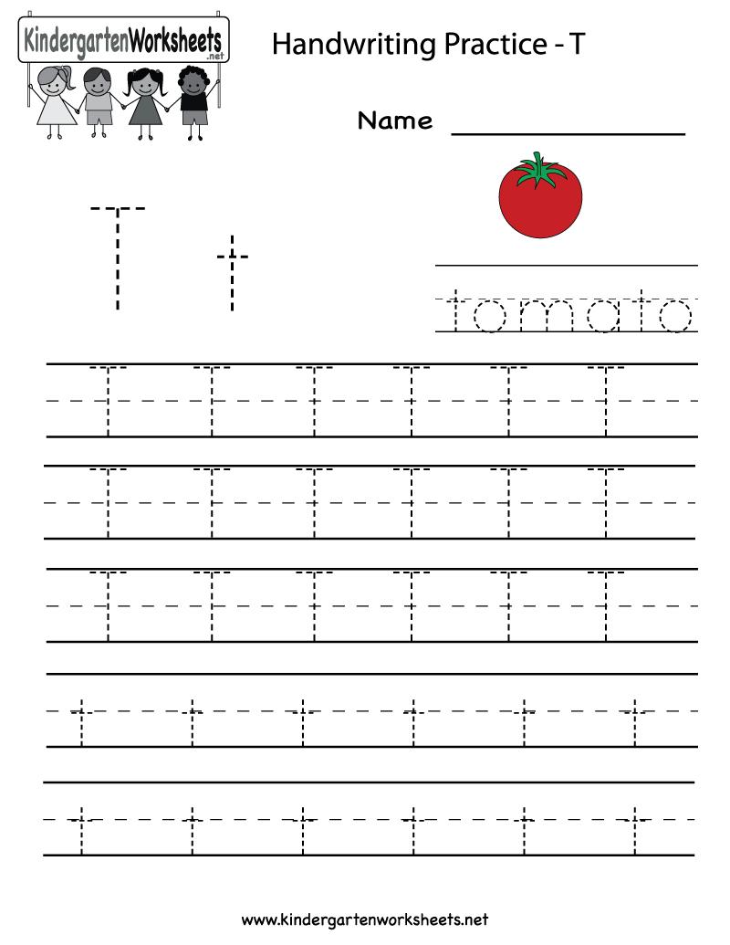 Kindergarten Letter T Writing Practice Worksheet Printable   Letter   Alphabet Practice Worksheets Printable