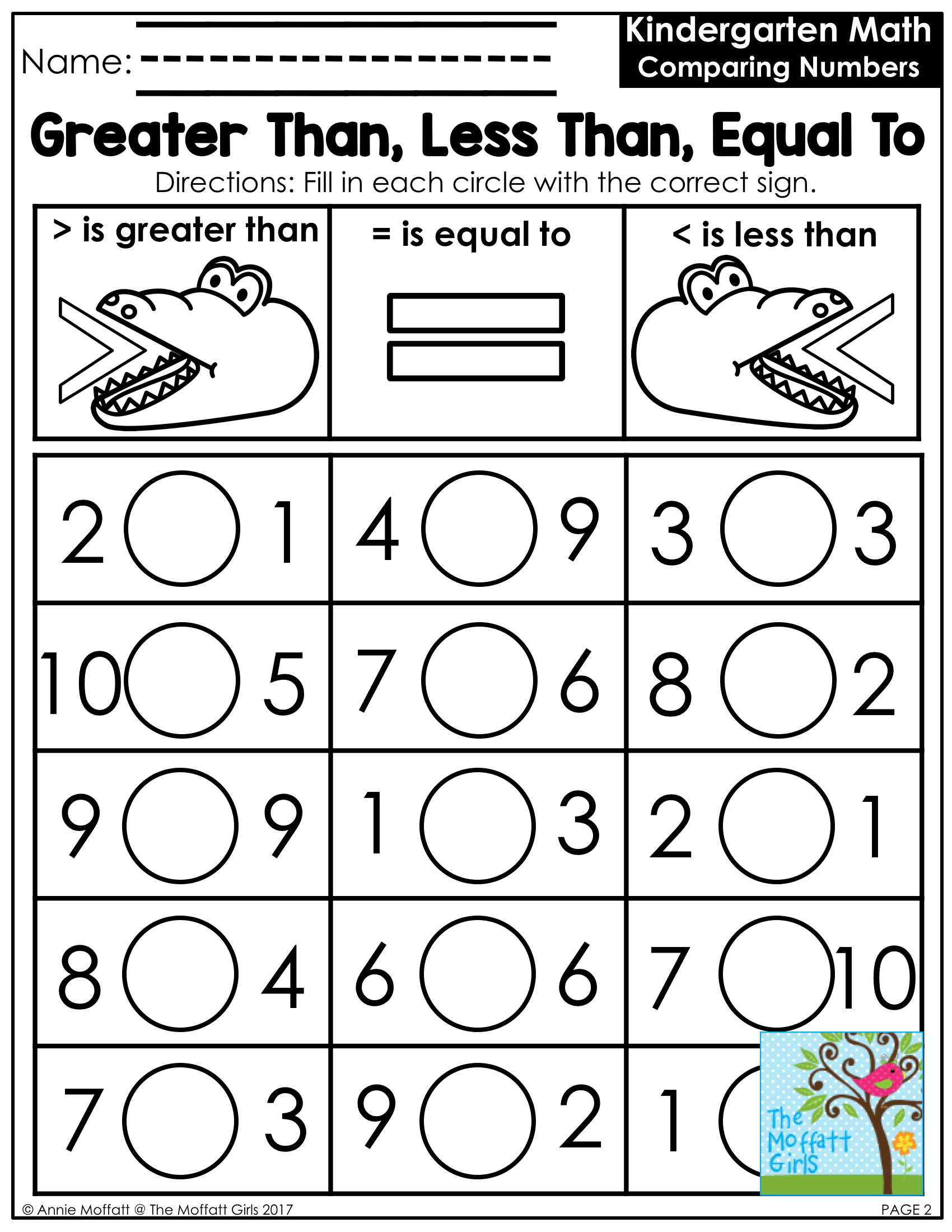 Less Than Worksheets Free Printable