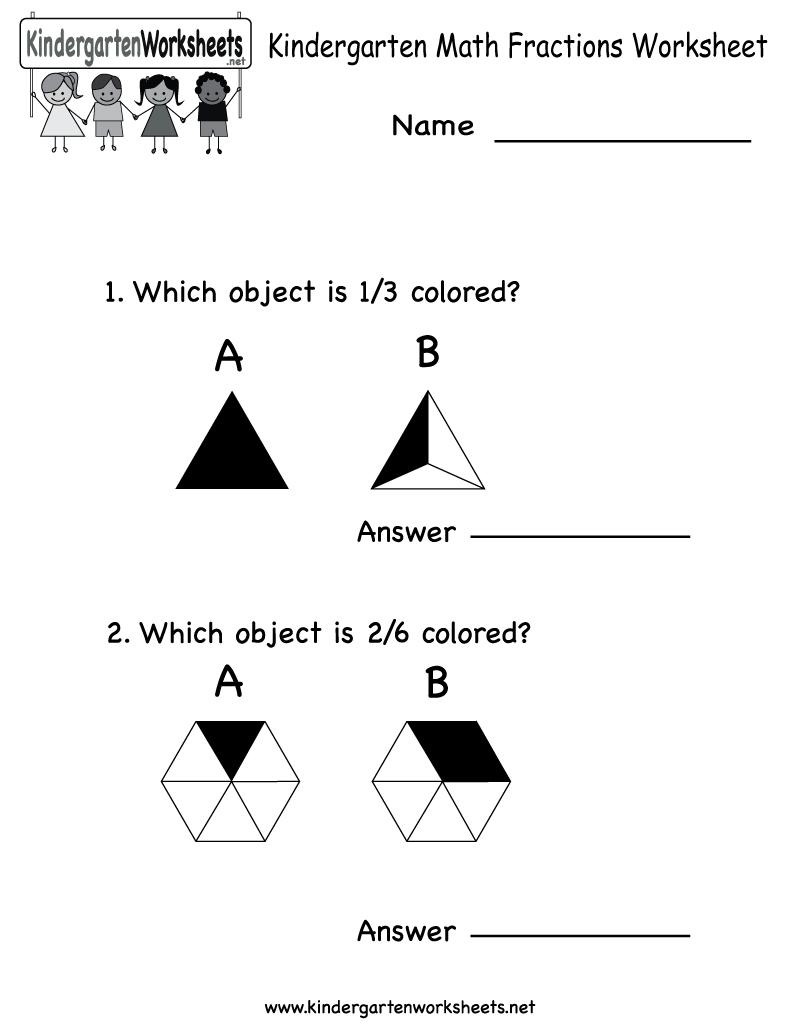 Kindergarten Math Fractions Worksheet - Free Kindergarten Math | Free Printable Fraction Worksheets For Kindergarten
