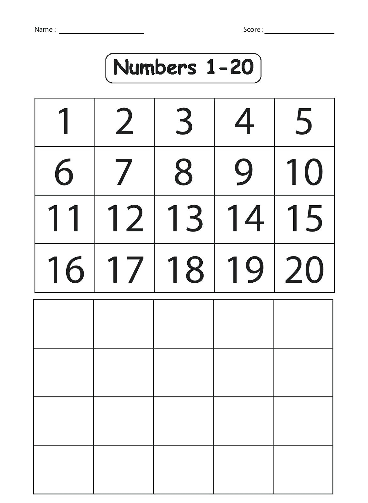 Kindergarten Number Worksheets 1 20 Worksheets Numbers 1 For - Free | Counting Worksheets 1 20 Printable