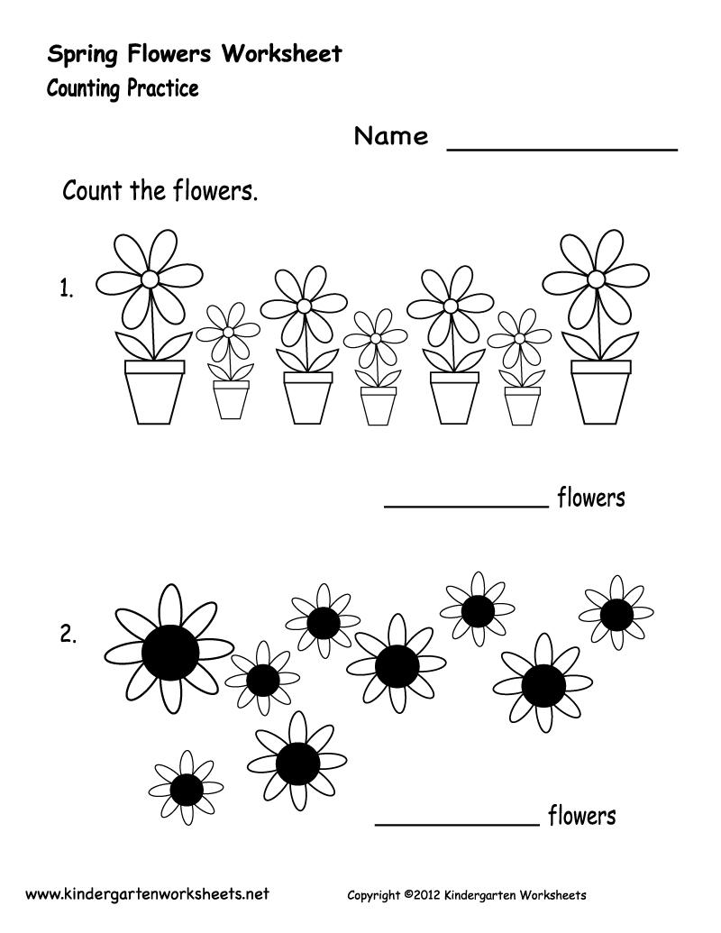 Kindergarten Spring Flowers Worksheet Printable | Spring Worksheets | Free Printable Spring Worksheets For Elementary