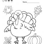 Kindergarten Thanksgiving Coloring Worksheet Printable   Free | Printable Thanksgiving Worksheets Kindergarten