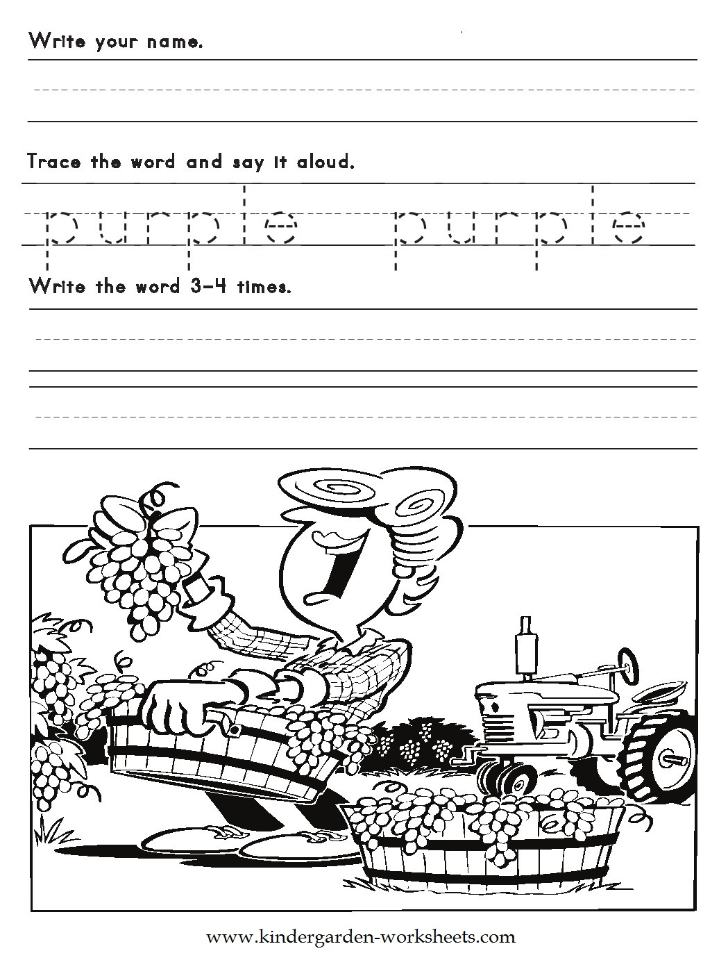 Kindergarten Worksheets: Color Words Worksheets - Purple | Free Printable Kindergarten Worksheets Color Words