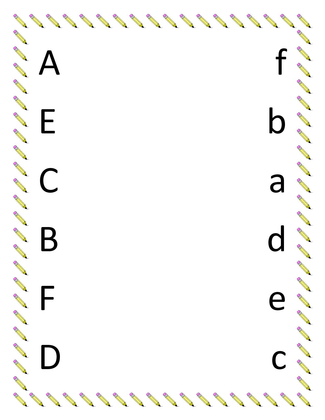 Kindergarten Worksheets | Preschool Matching Worksheets - Upper | Abc Matching Worksheets Printable