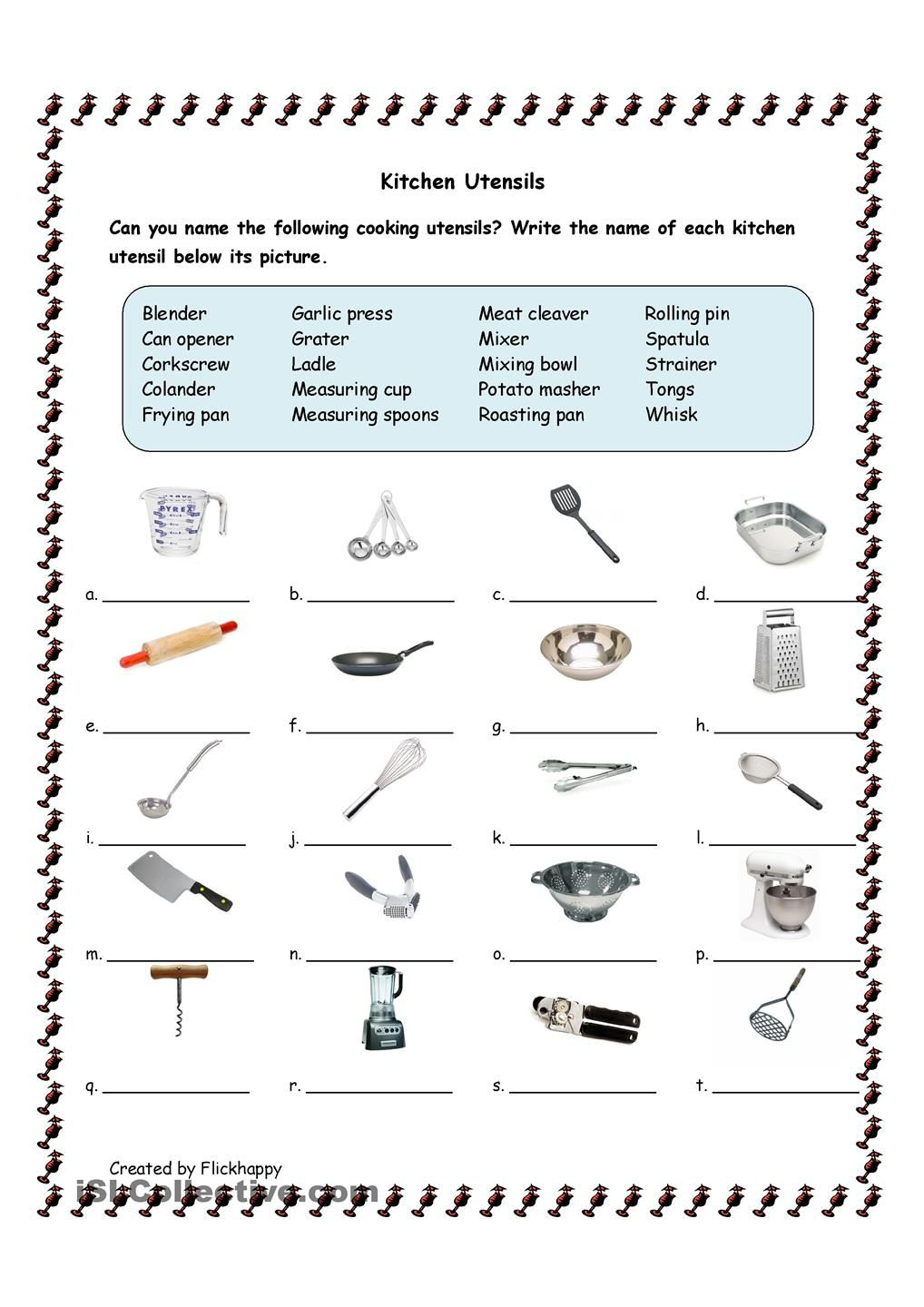 Kitchen Utensils | Facs | Cooking Classes For Kids, Kitchen Utensils | Kitchen Utensils Printable Worksheets