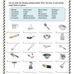Kitchen Utensils Worksheet   Free Esl Printable Worksheets Made | Free Printable Cooking Worksheets