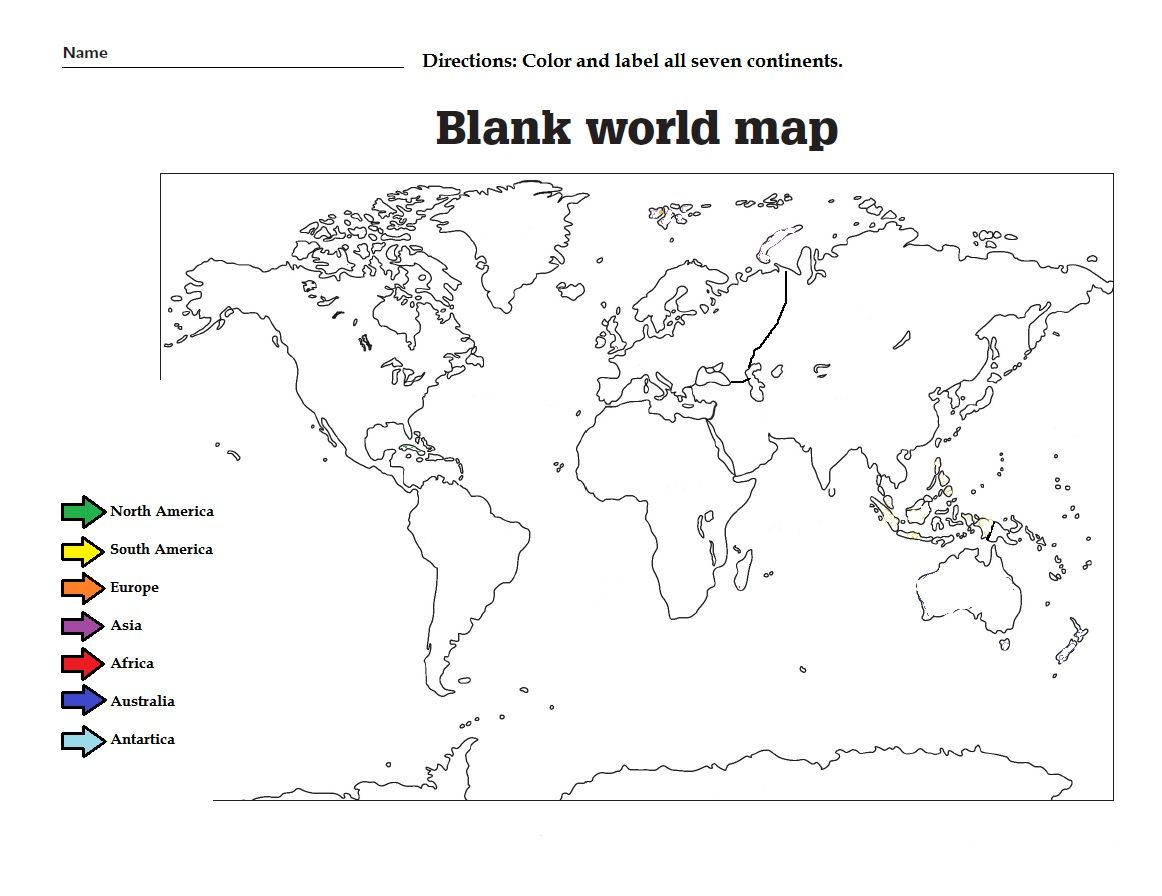 Label The The Continents And Color Them. Great Worksheet For Kids | Continents Worksheet Printable